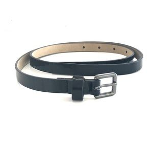 Nine West skinny black patent leather belt.